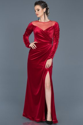 Long Red Velvet Evening Dress ABU527