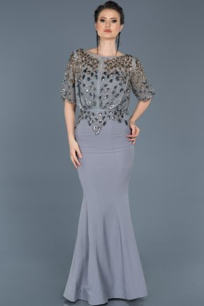 Long Grey Mermaid Evening Dress ABU222