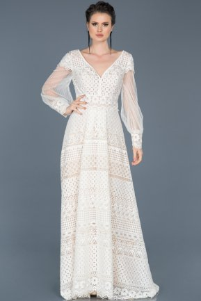 Long White Engagement Dress ABU581