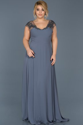 Long Anthracite Plus Size Evening Dress ABU124