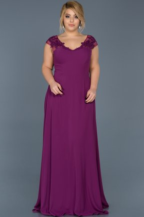 Long Plum Plus Size Evening Dress ABU124