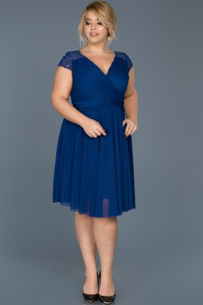 Short Sax Blue Oversized Evening Dress ABK306