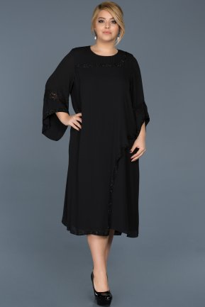 Midi Black Plus Size Evening Dress ABK363
