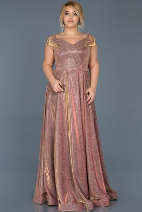Long Rose Colored Plus Size Evening Dress ABU592