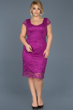 Short Purple Oversized Evening Dress ABK010
