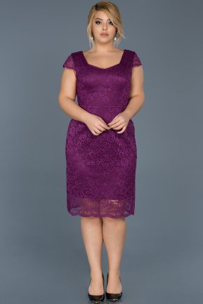 Short Plum Oversized Evening Dress ABK010