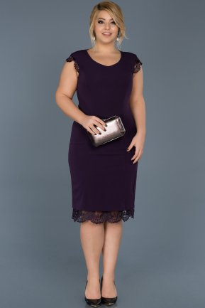 Short Purple Plus Size Evening Dress ABK029