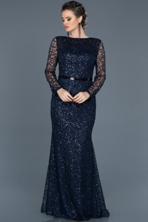 Long Navy Blue Mermaid Prom Dress ABU569