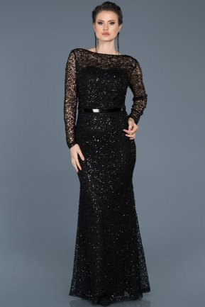 Long Black Mermaid Prom Dress ABU569
