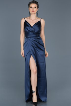 Navy Blue Long Engagement Dress ABU564