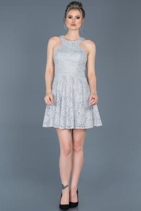 Short Grey Invitation Dress ABK369