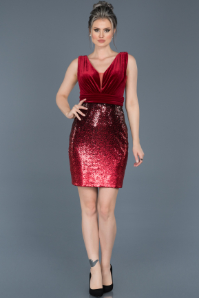 Short Red Invitation Dress ABK370