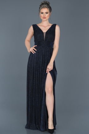 Long Navy Blue Prom Gown ABU598