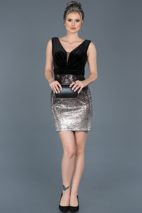 Short Silver Invitation Dress ABK370