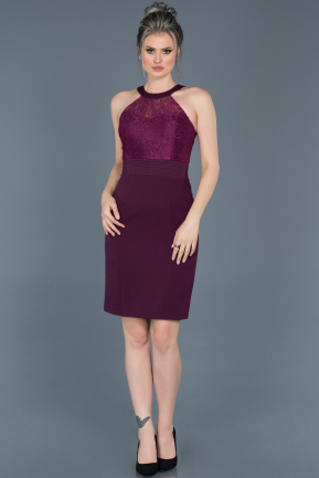 Short Plum Invitation Dress ABK278