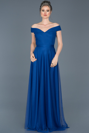 Long Sax Blue Evening Dress ABU020