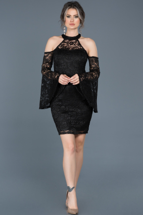 Short Black Laced Invitation Dress ABK375