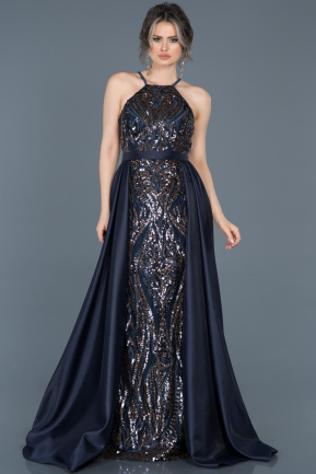 Tail Navy Blue Engagement Dress ABU515