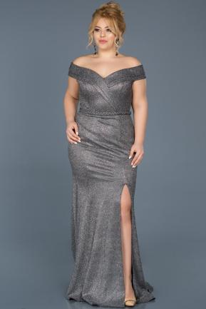 b0524ee6b877 Long Black-Silver Oversized Evening Dress ABU614