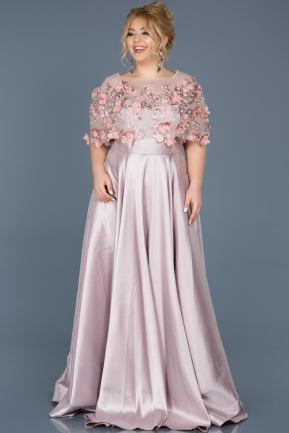 Long Rose Colored Plus Size Evening Dress ABU115