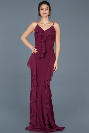 Long Plum Prom Gown ABU624