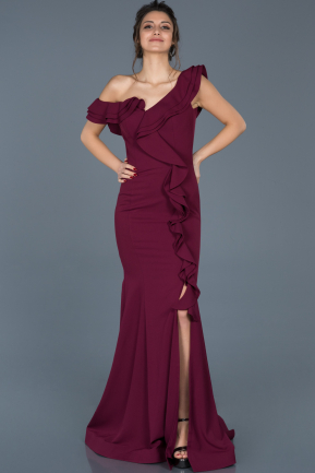 Long Plum Engagement Dress ABU626