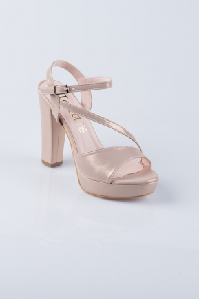 Powder Color Plaster Fabric Platform Heels MJS6237