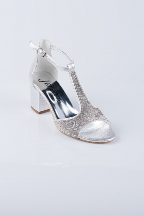 Silver Evening Shoes MJT0744