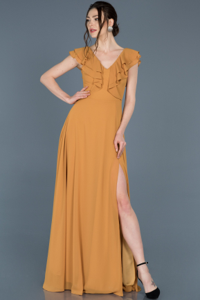 Long Mustard Invitation Dress ABU642