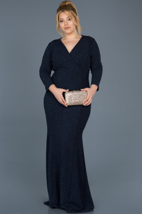 Long Navy Blue Oversized Evening Dress ABU667