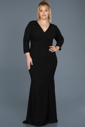 Long Black Oversized Evening Dress ABU667