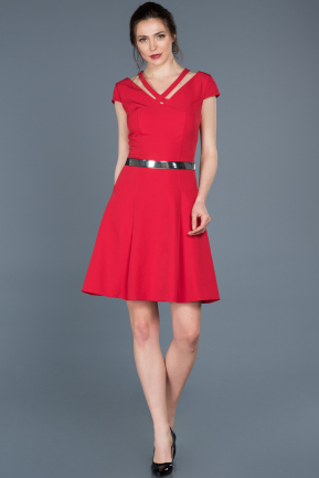 Short Red Prom Gown ABK427