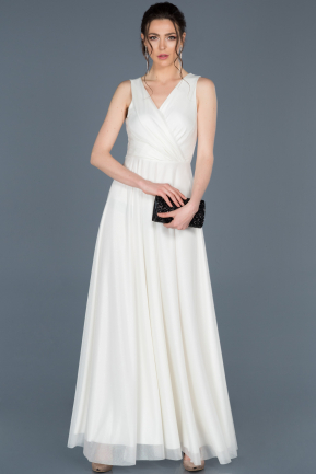 Long White Engagement Dress ABU695