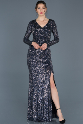 Long Navy Blue-Silver Invitation Dress ABU680