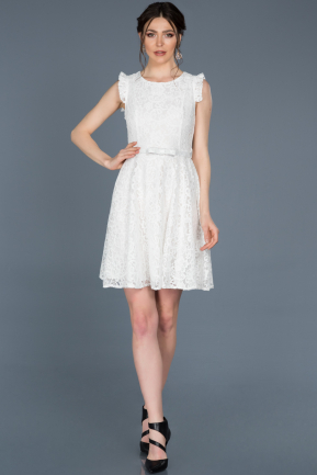 Short White Laced Prom Gown ABK454