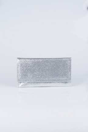 Silver Silvery Evening Bag V447
