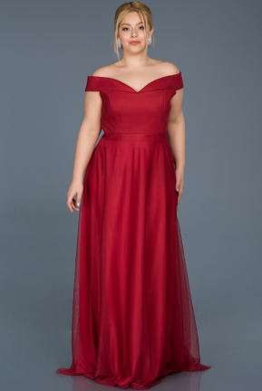 Long Red Oversized Evening Dress ABU020