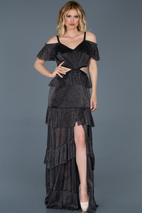 Long Black Prom Gown ABU731