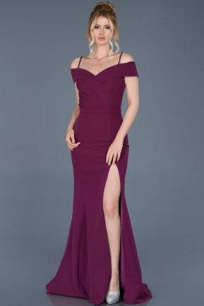 Long Plum Mermaid Evening Dress ABU742