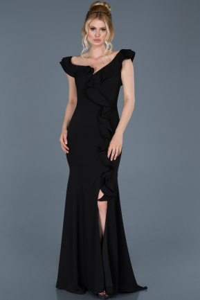 Long Black Engagement Dress ABU626