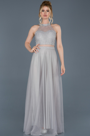 Grey Long Engagement Dress ABU766