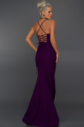 Long Dark Purple Evening Dress ABU043