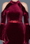 Long Burgundy Velvet Evening Dress ABU488