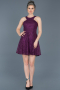 Short Plum Invitation Dress ABK369