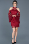 Short Burgundy Laced Invitation Dress ABK375