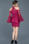 Short Plum Laced Invitation Dress ABK375