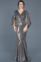 Long Anthracite Engagement Dress ABU604