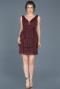 Short Plum Invitation Dress ABK367