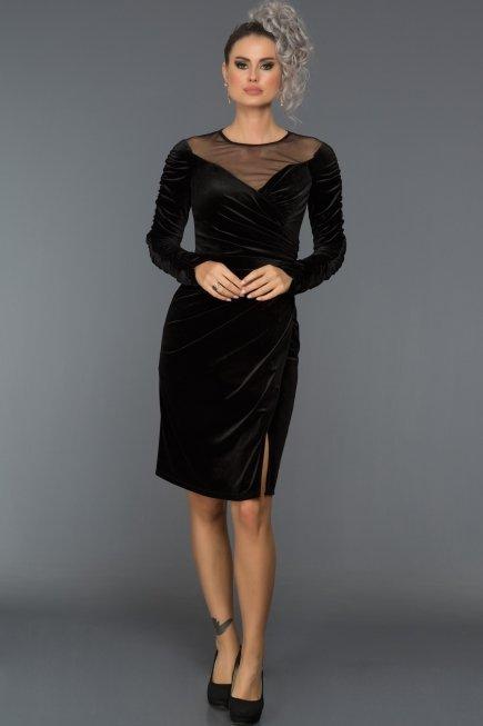 ce0ffed2d08 Short Black Velvet Evening Dress F7317