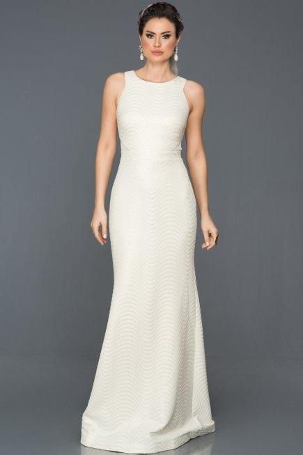 Long Ecru Prom Gown ABU224   Abiyefon.com